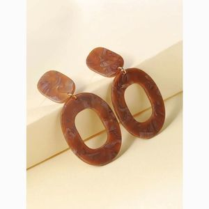 Acrylic Oval Tortoise Shell Marble Drop Earrings